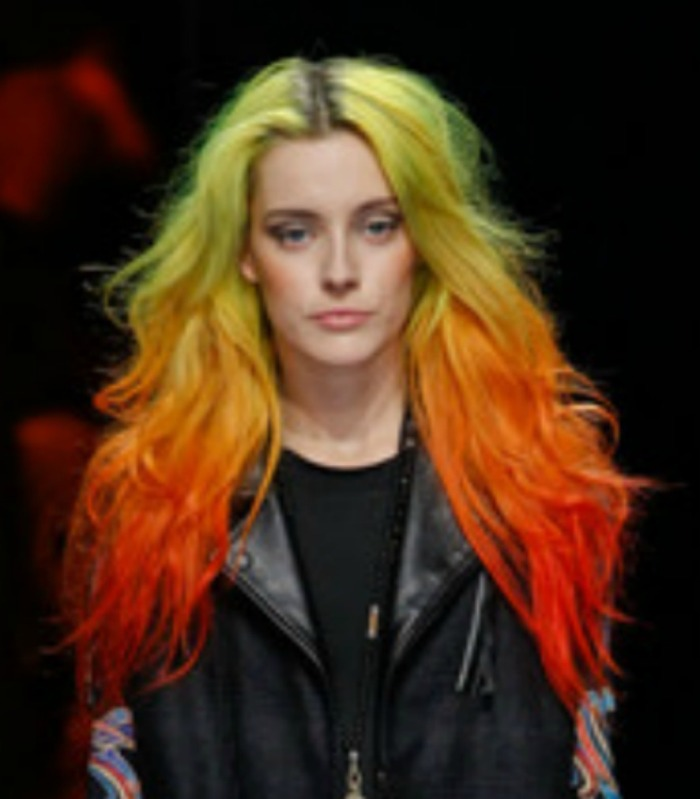 model with multicolored hair at Nicole Miller f-w 2013-14