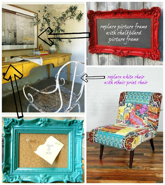 eclectic antique office.collage