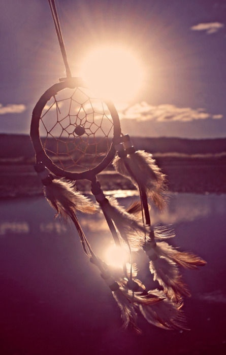 dream catcher outdoors against the sun