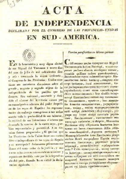 Declaration of Independence of the United Provinces of South America, in Spanish and Quechua