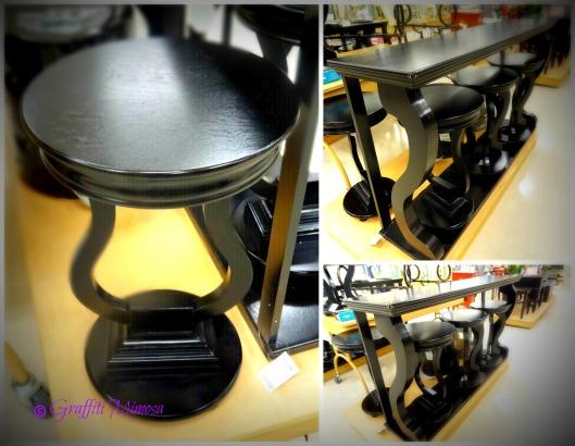 black wood bar, Tainoki Fine Furniture, $129.99 and black wood bar stools, Tainoki Fine Furniture, $49.99/ea.