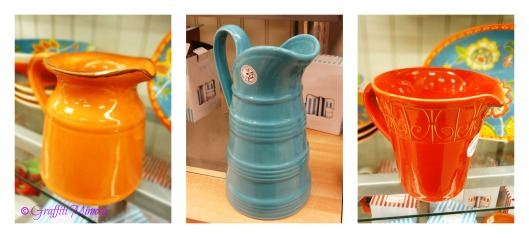 orange ceramic pitcher (made in China), Lac Dolce Vita-Turino collection, $5.99 (compared at $10.00); blue ceramic pitcher (made in Portugal), Deartis, $12.99 (compared at $24.00); red ceramic pitcher (made in Italy), Sweet Ceramics (handwash recommended), $12.99 (compared at $26.00)