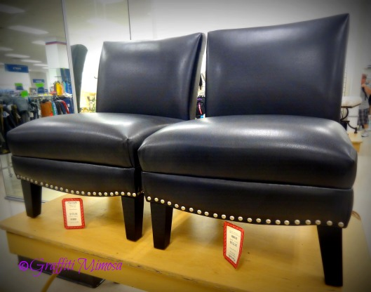 leather curve front slipper chair with nail-head studs, $179.99