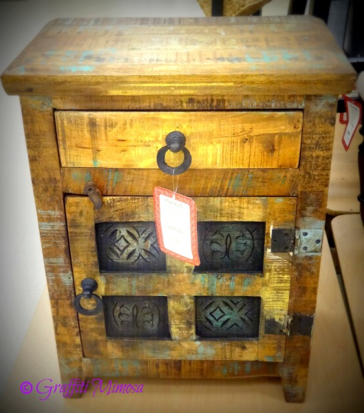 reclaimed wood side table (made in India), $149.99