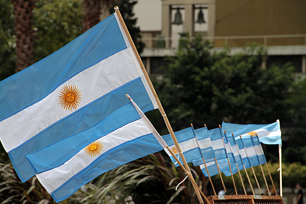 Argentina's National flags at the Plaza de Mayo