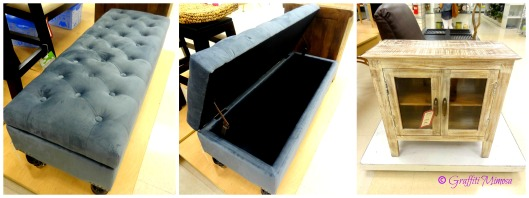 blue-grey velvet tufted storage bench wood legs w/ casters, $129.99